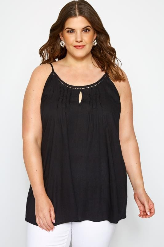 Plus Size Vests & Camis Black Embellished Cami Top