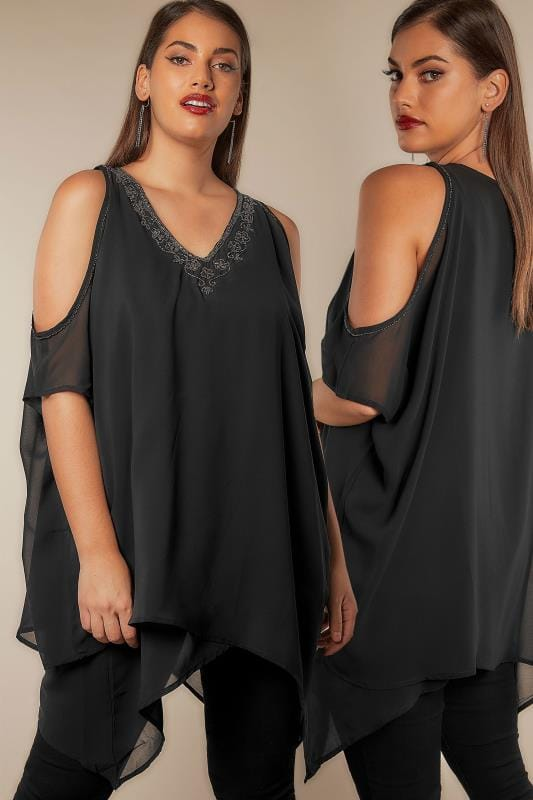 Black Embellished Cold Shoulder Chiffon Top With Hanky Hem