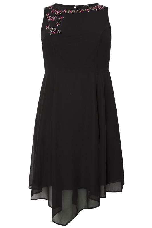 Black Embellished Fit & Flare Skater Dress