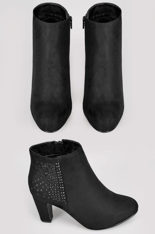 Wide Fit Ankle Boots Black Embellished Heeled Ankle Boots In TRUE EEE Fit