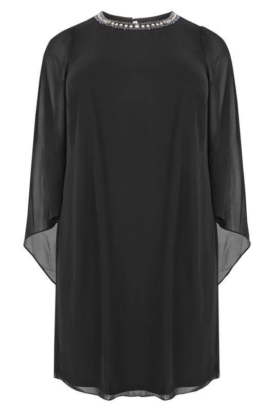 Plus Size Swing Dresses Black Embellished Swing Dress With Wide Split Sleeves