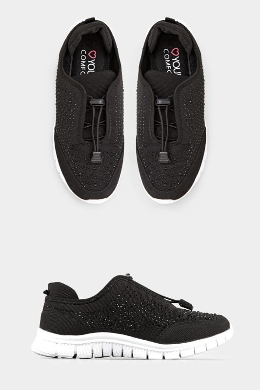 Black Embellished Trainers In EEE Fit