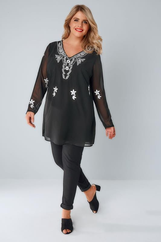 YOURS LONDON Black Embroidered & Beaded Top With Sheer Long Sleeves