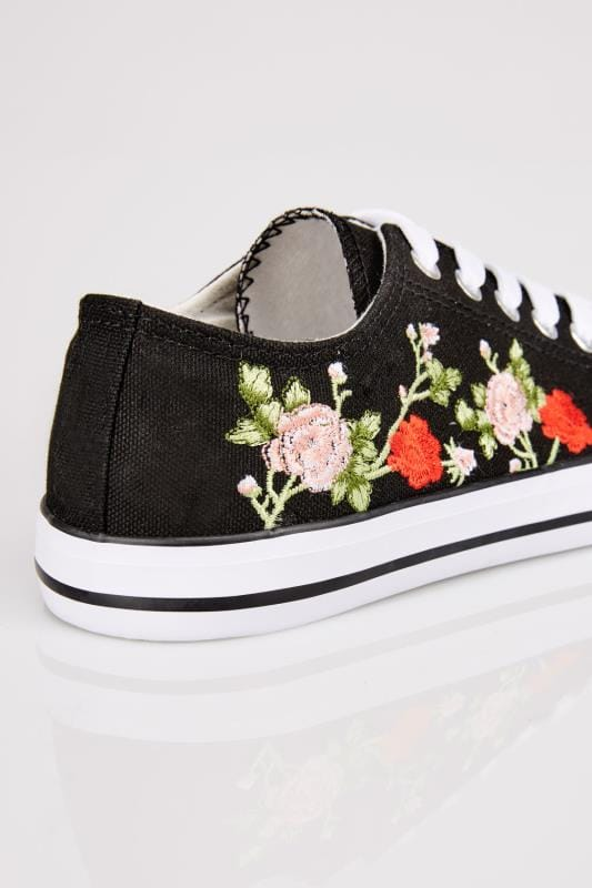 Black Embroidered Lace Up Canvas Trainers In TRUE EEE Fit