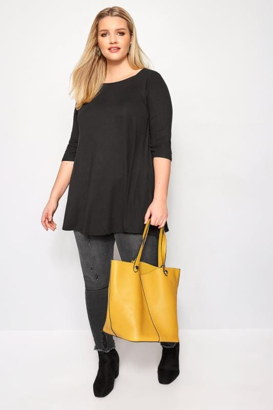 Black Envelope Neck Longline Top