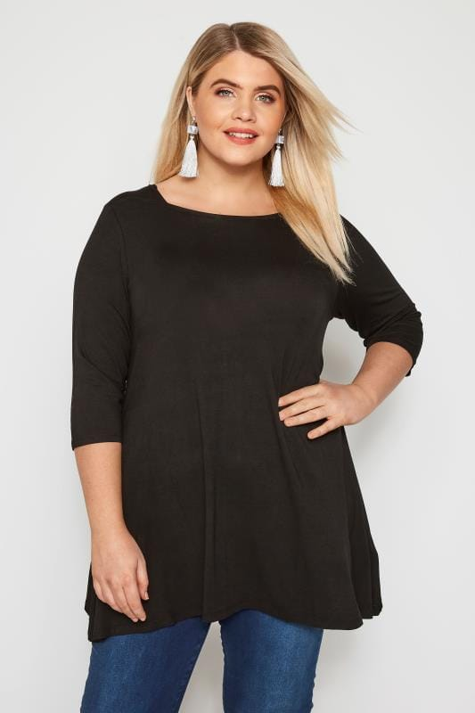 Plus Size Jersey Tops Black Envelope Neck Longline Top