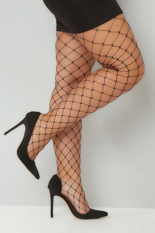 Plus Size Plus Size Tights Black Extra Large Fishnet Tights