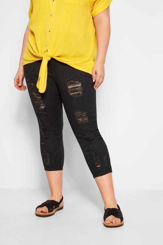 Capri-Jeggings Jenny im extremen Distressed-Look - Schwarz