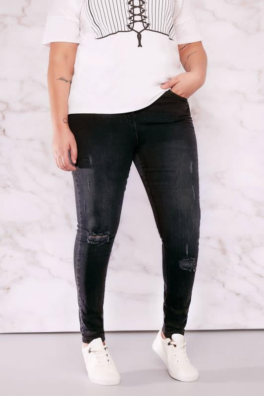 LIMITED COLLECTION Black Faded Ankle Grazer Skinny Jeans With Rip Details