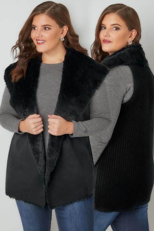 Plus Size Gilets Black Faux Fur Sleeveless Cable Knit Gilet