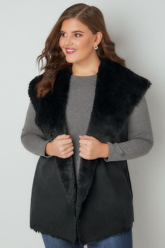 Black Faux Fur Sleeveless Cable Knit Gilet
