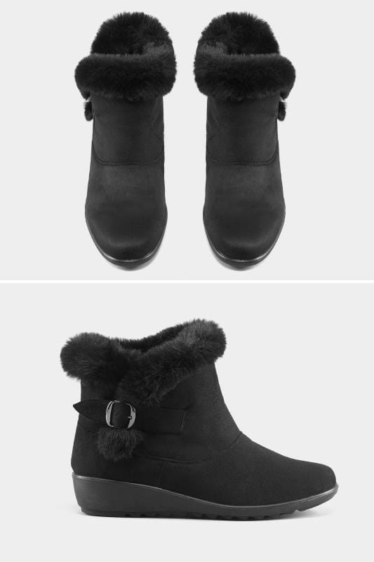 Wide Fit Boots Black Faux Fur Trim Ankle Boot In EEE Fit