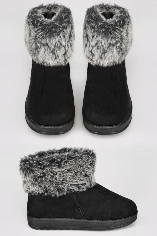 Black Faux Fur Trim Ankle Boots In TRUE EEE FIT