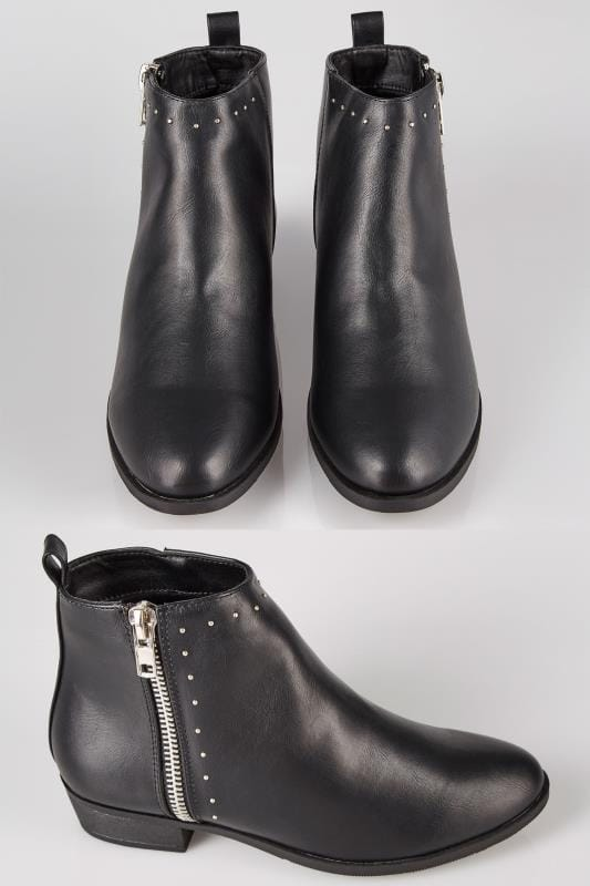 Wide Fit Ankle Boots Black Ankle Boots With Stud Detail In E Fit