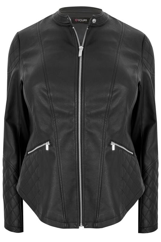 Similic cuir Black Faux Leather Jacket With Quilted Shoulders 120103