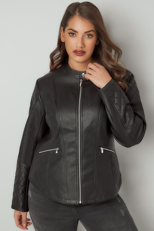 Plus Size Leather Look Jackets Black Faux Leather Jacket With Quilted Shoulders