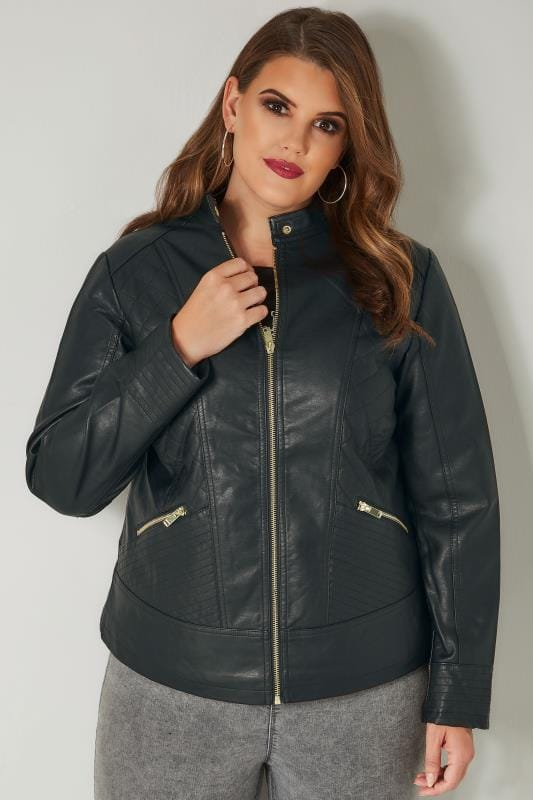 Plus Size Leather Look Jackets Black Faux Leather Quilted Jacket