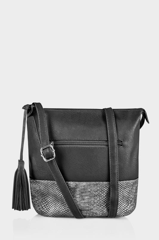 Plus Size Across-The-Body Black Faux Snakeskin Trim Bucket Bag With Tassel & Extended Strap