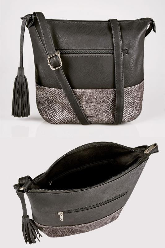 Across-The-Body Black Faux Snakeskin Trim Bucket Bag With Tassel & Extended Strap 152308