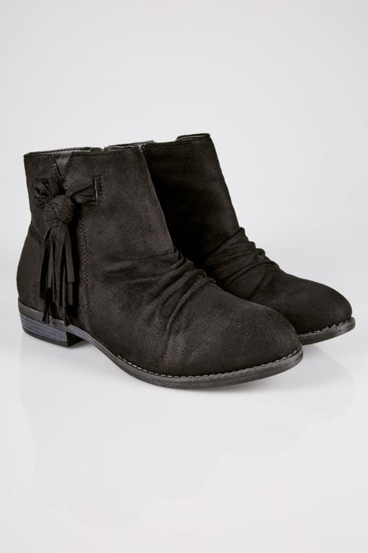 Black Ankle Boots With Tassel Detail In TRUE EEE Fit