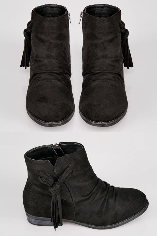 Wide Fit Ankle Boots Black Ankle Boots With Tassel Detail In TRUE EEE Fit