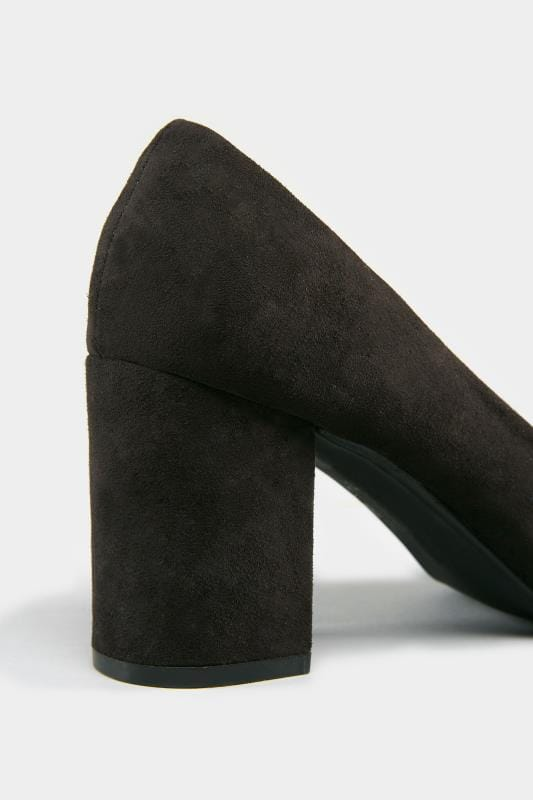 Black Faux Suede Court Shoes In E Fit
