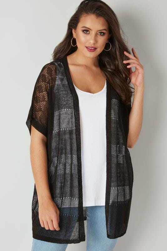 Plus Size Cardigans Black Fine Knit Crochet Cardigan