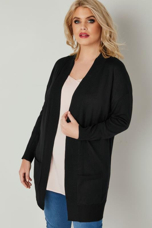 Plus Size Cardigans Black Fine Knit Edge To Edge Rib Trim Cardigan With Pockets