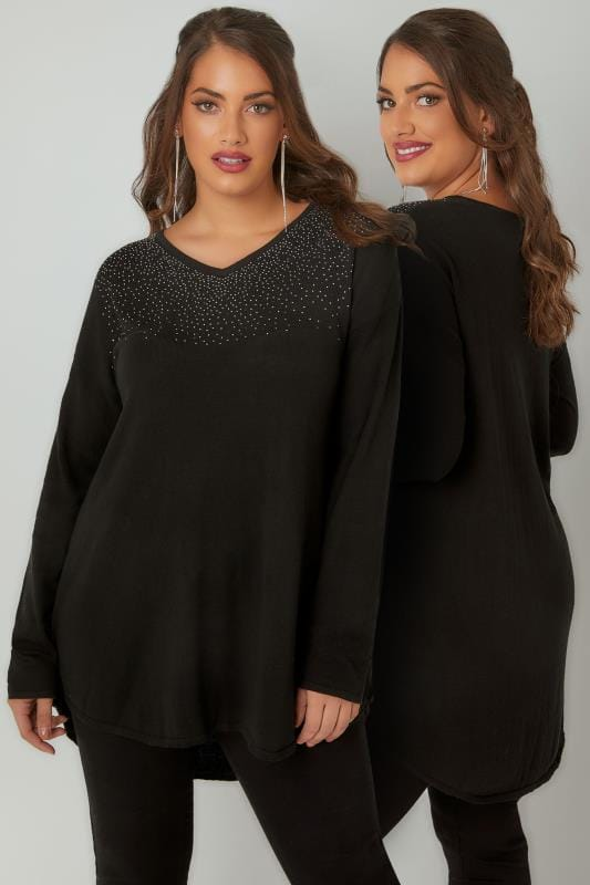 Plus Size Jumpers Black Fine Knit Jumper With Diamante Embellishment To Neckline