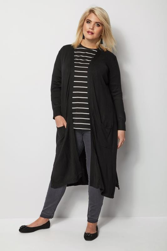 Black Fine Knit Longline Cardigan