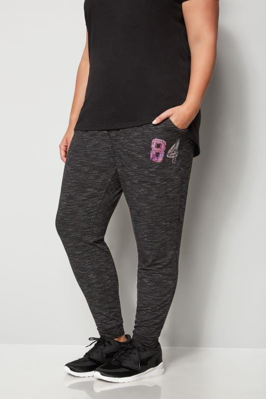Plus Size Joggers Black Sequin Joggers