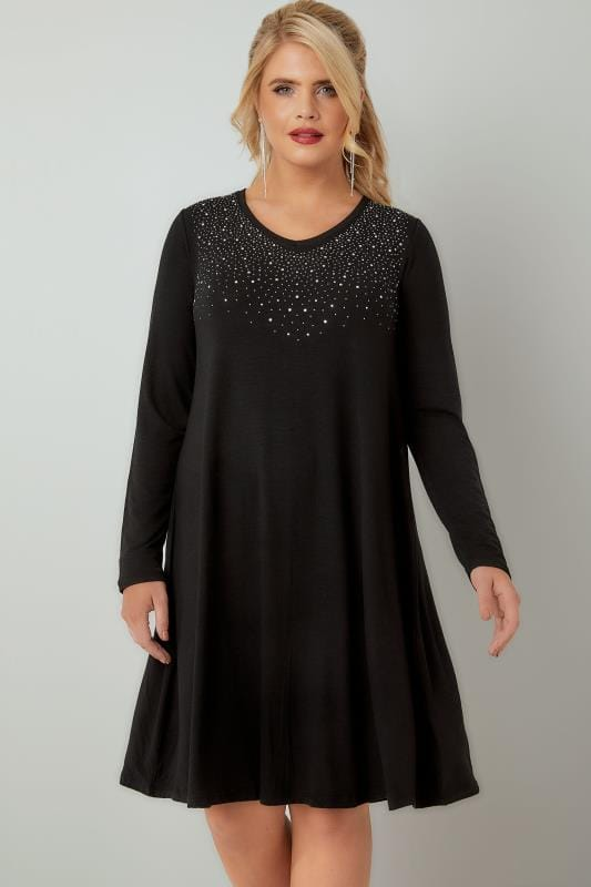 Black Fine Knit Swing Dress With Embellished Front