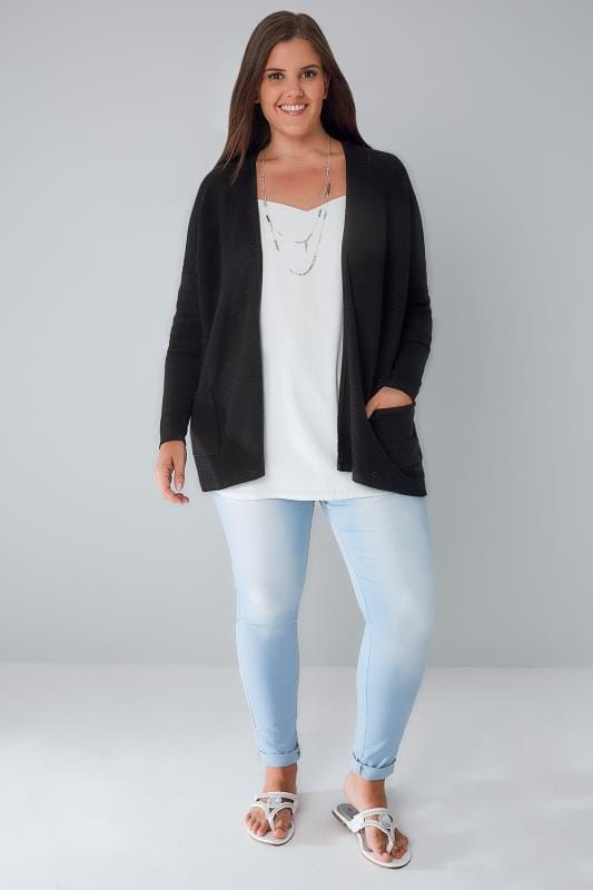 Black Fine Knitted Ribbed Cardigan