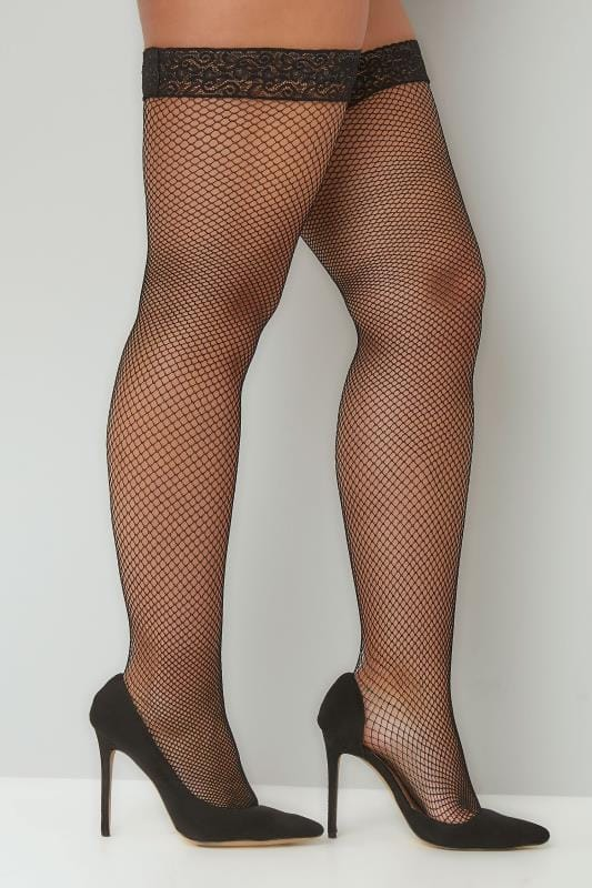 Plus Size Plus Size Stockings & Hold Ups Black Fish Net Stocking With Lace Trim
