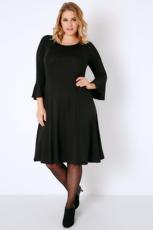 Black Fit & Flare Jersey Dress With Flute Sleeves
