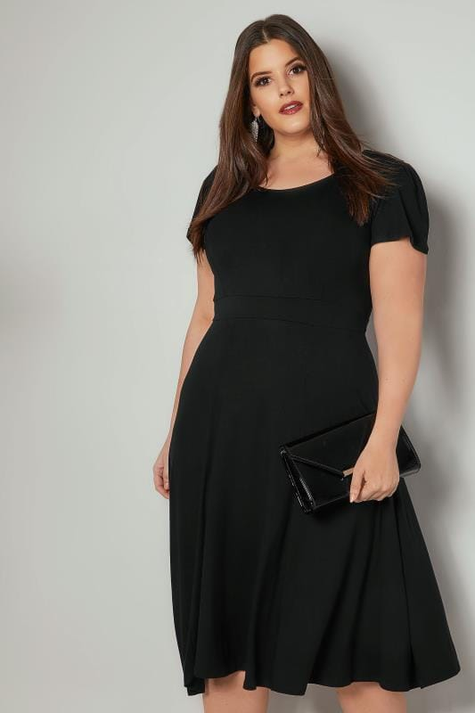 Black Fit & Flare Skater Dress With Tie Waist & Flute Sleeves