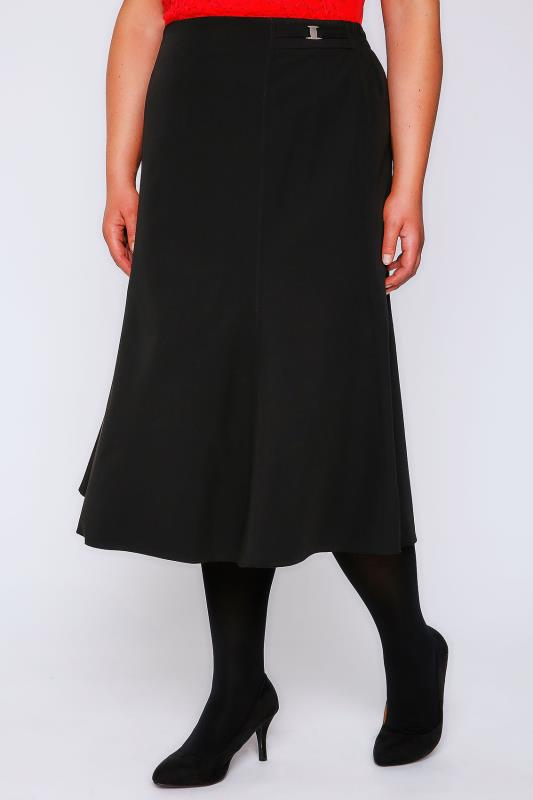Black Fit & Flare Skirt With Elasticated Waist