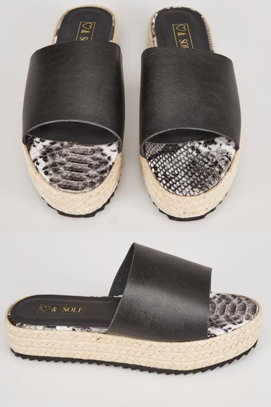 Black Flatform Espadrille Sliders In E Fit