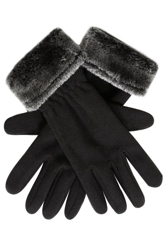 Black Fleece Gloves With Faux Fur Trim
