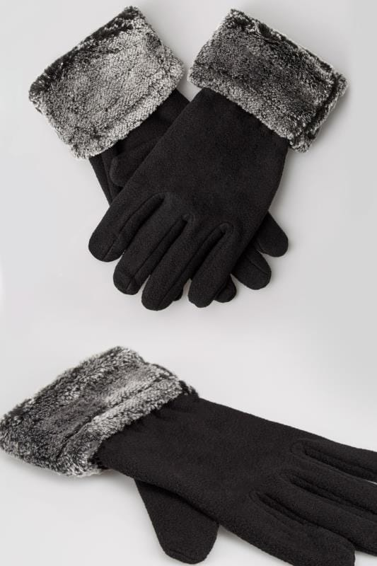 Gloves Black Fleece Gloves With Faux Fur Trim 152319
