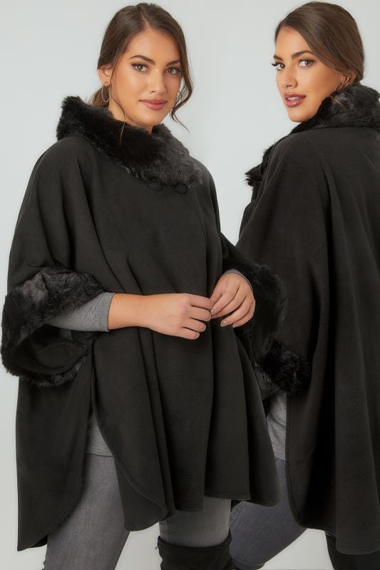 Black Fleece Wrap With Faux Fur Trims