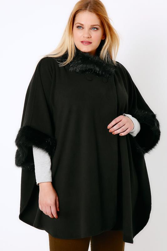 Black Fleece Wrap With Fur Collar & Sleeves