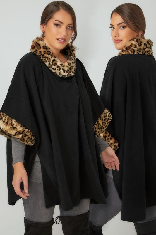Wraps & Capes Black Fleece Wrap With Leopard Print Faux Fur Trims 120085