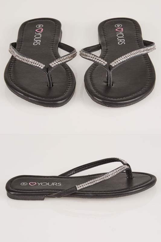 Wide Fit Flat Shoes Black Flip Flop With Diamante Trim In TRUE EEE Fit 154010