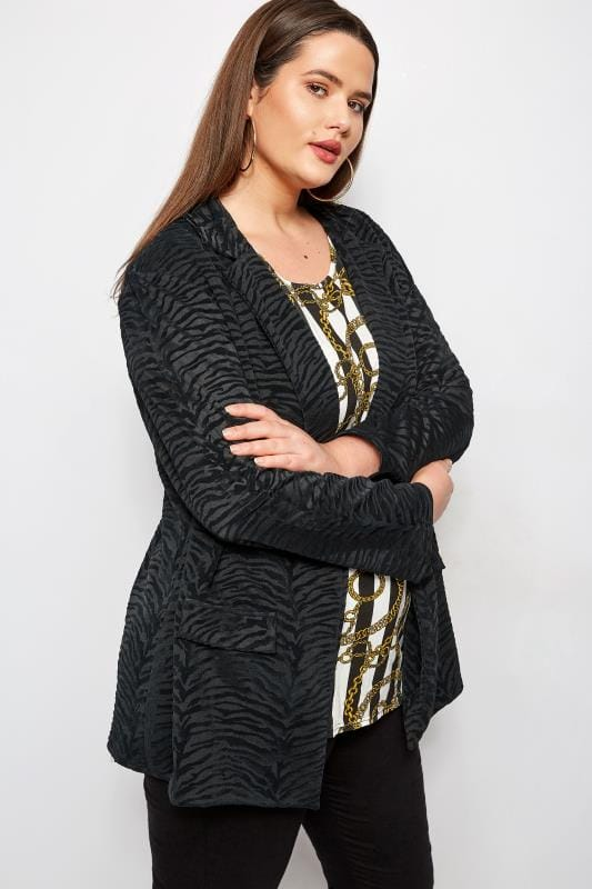 Plus Size Blazers Black Flocked Zebra Print Blazer