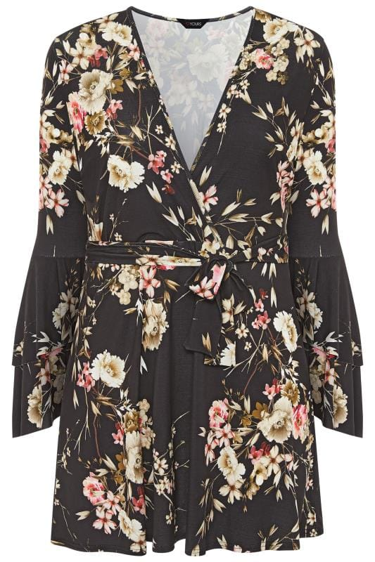 Plus Size Wrap Dresses LIMITED COLLECTION Black Floral Wrap Frill Sleeve Dress