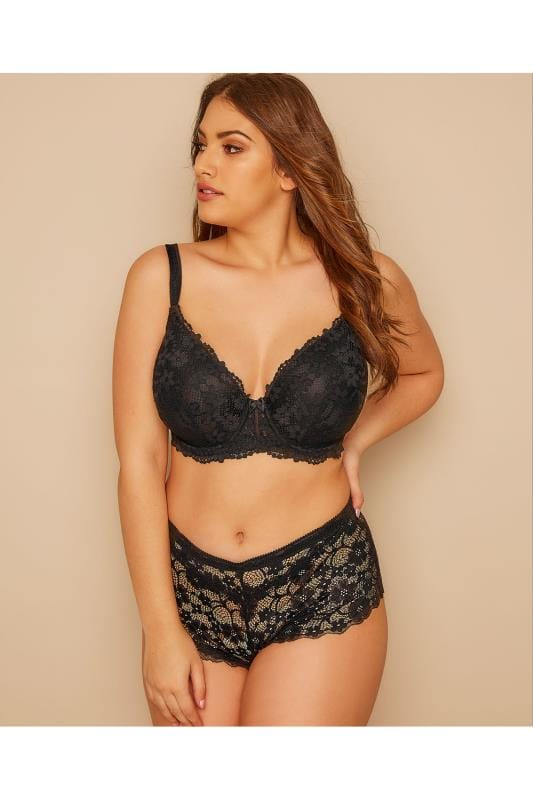 Plus Size Briefs & Knickers Black Floral All Lace Short