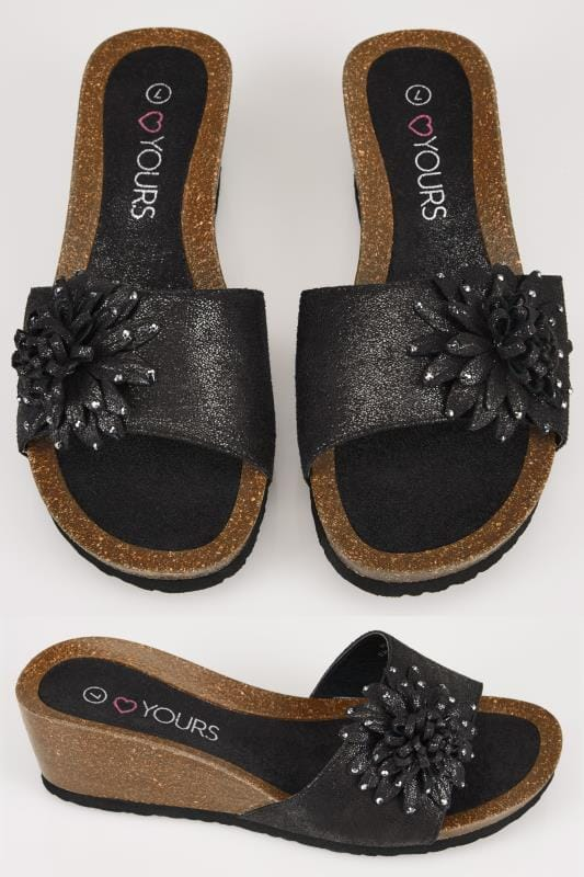 Wide Fit Wedges Black Floral Applique Wedge Sandals In TRUE EEE Fit