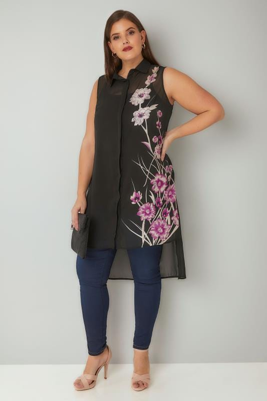 Black Floral Bead Embellished Longline Shirt With Dipped Hem