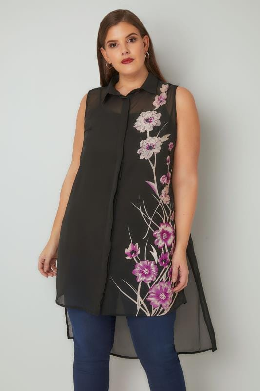 Plus Size Blouses & Shirts Black Floral Bead Embellished Longline Shirt With Dipped Hem